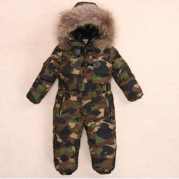 Children Down Rompers With Real Fur Hood Warm Boys Girls Winter Jumpsuits Kids Conjuncted Climb Clothes For 3-8 Years