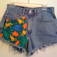 dinosaur  high waisted shorts 31 inch