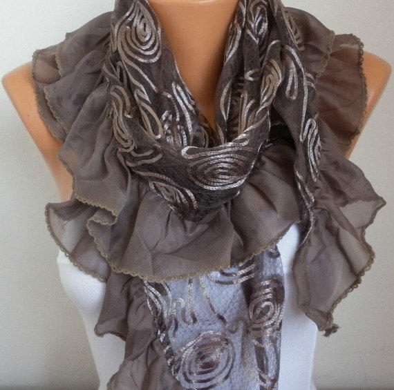 Brown Shawl Scarf - Lace Scarf  Cowl Scarf fatwoman bridesmaid Gift
