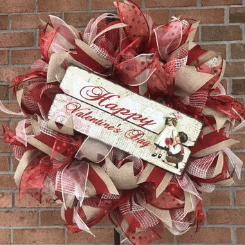 Vintage Valentine Jute Burlap Mesh Wreath | Wall Decor | Front Door Decor | Wedding Aniversary