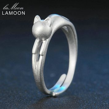 Lamoon Cute Wire Drawing 5*16mm Little Cat 925-Sterling-Silver Adjustable Ring S925 Fine Jewelry Creative Gift for Girl LMRY014