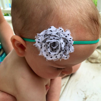 Teal baby headband, polka dot baby headband, shabby chic flower headband, skinny elastic headband for girls, teen, women