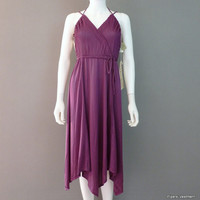 Purple Disco Party Dress New Old Stock Polyester Halter Dress Spaghetti Strap Dress Small Club Dress 1970s Helen Joy Dress