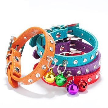 Pet Puppy Cat Dog Rhinestone Bell Decor Faux Leather Neck Strap Buckle Collar