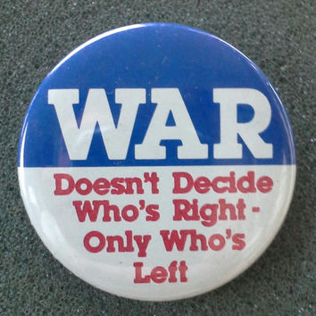 Vintage '80s Anti-War Button NOS deadstock unworn badge pin nonpartisan peace crass anarcho punk