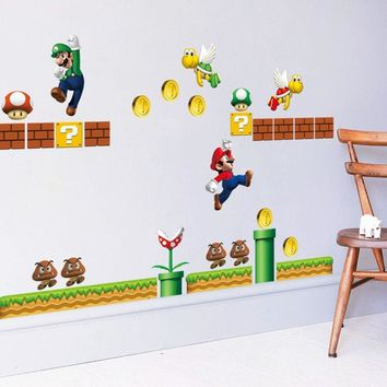 Super Mario Large Wall Stickers 3D Removable Decals Vinyl Art Kids Nursery Decor Red Hat Mary runs side wall sticker