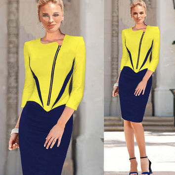 Yellow Half Sleeve Side Zip Pencil Midi Dress