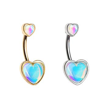 Golden & Silver Illuminating Two Heart Belly Button Ring