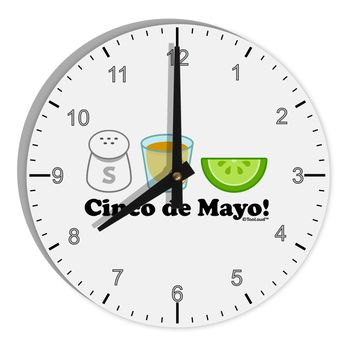 "Cinco de Mayo Design - Salt Tequila Lime 8"" Round Wall Clock with Numbers by TooLoud"