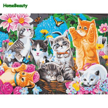 Animals cute cat diy paintings by numbers on canvas draw pictures hand-painted wall art for living room home decorations WY5086