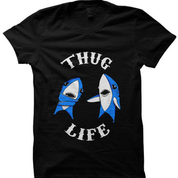 Left Shark T-shirt Thug Life Left Shark T-shirt Funny Shirts Katy Perry Halftime Show Shark Shirts #LeftShark #KatyPerry Party Shirt