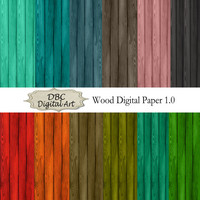 Wood Digital Paper, Scrapbooking, Scrapbook paper, Invitations, Digital Frames, Blue Wood Scrapbook Paper, Red Wood Paper, Digital Download