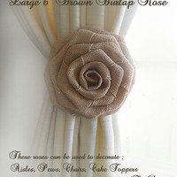 """Set of 2, Large 6"""" Handmade Brown Burlap Roses for Country Weddings, Aisles, Pews, Chairs, Cake Toppers, Ties Backs. Made to Order."""