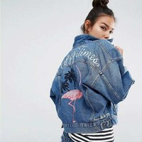 Embroidery Flamingo Jean Jacket