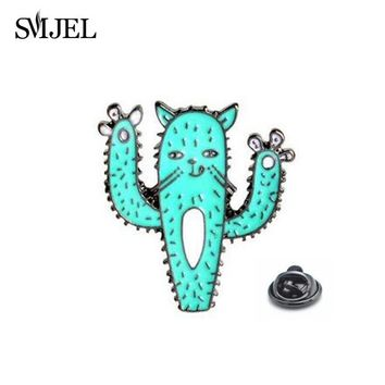 Trendy SMJEL Tiny Funny Cat Face Paw Cactus Plant Brooch Button Pins Denim Jackets Enamel Pin Brooch Badge Cactus Jewelry Gift for Kid AT_94_13