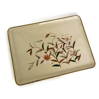 Mid Century Otagiri Tray, Lacquer Serving Tray, Lilies Design on Beige, Rectangular, Japan, Retro Barware, Vintage Otagiri, Lacquerware