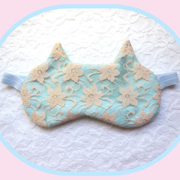 Cat Ears Sleep Mask - Lace Eye Mask  - Soft Comfortable - Cute Women's Eye Mask - Pastel Night Mask - Elastic Eye Mask