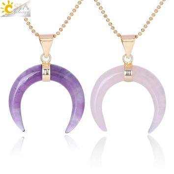 CSJA Natural Stones Crescent Moon Necklaces Pendants Purple Crystal Pink Quartz White Stone Gold Color Reiki Women Jewelry F306