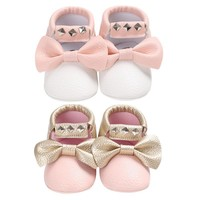 Baby Shoes Baby Moccasins Soft PU Leather Tassel Girls Bow First Walkers Shoes For Bab