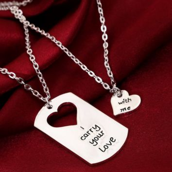 New jewelry couple heart pendant necklace