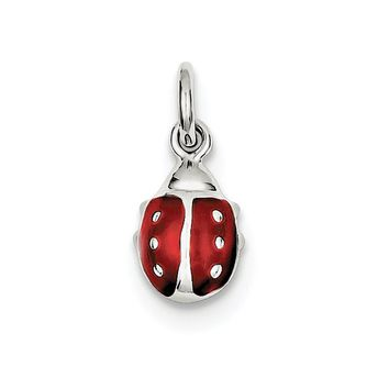 925 Sterling Silver Rhodium-Plated Enameled Red Ladybug Pendant
