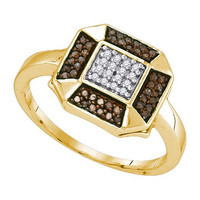 Cognac Diamond Fashion Ring in 10k Gold 0.2 ctw