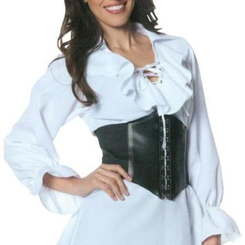 Pirate Laced Front Blouse Adult Costume Small