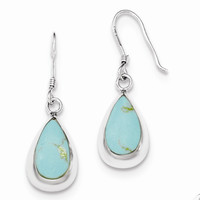 Sterling Silver Teardrop Synthetic Turquoise Earrings