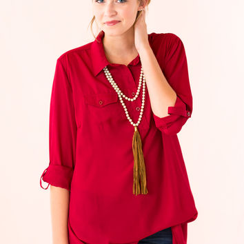 Style Me Pretty Top in Burgundy