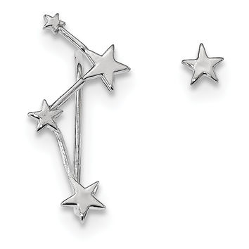 Sterling Silver Rhodium-plate Constellation 1 Ear Climber & 1 Post Earrings QE13383
