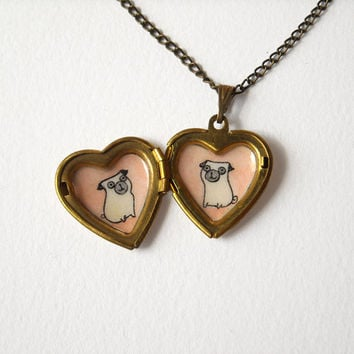 Pugs Heart Locket - Pet Lovers Jewelry - Locket Necklace with Pug Dogs Illustrations