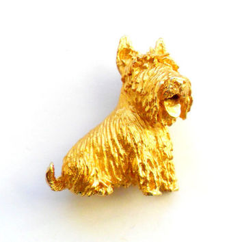 Trifari Scottish Terrier Brooch Vintage Detailed Gold Scottie Dog Lover Gift Signed Crown