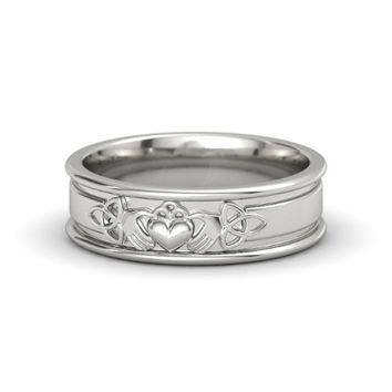 Wedding Band - Claddagh and Celtic White Gold Ring