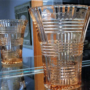 Pink Depression Glass Vase QUEEN MARY Prismatic Basket Weave 1930s Art Deco Vintage Wedding Table Country Home Farm Farmhouse Kitchen Decor