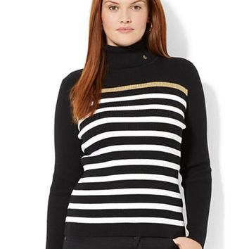 Lauren Ralph Lauren Plus Striped Turtleneck Sweater