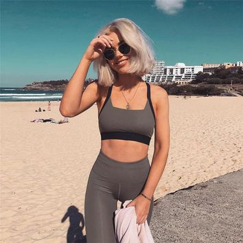 2018 Tracksuit for Women Sport Yoga Sets Sleeveless Chandal Gym Clothing Running Suits Women Sports Fitness Clothing Sporty Set