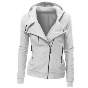 Fashion Zipper solid color hooded  coat-6