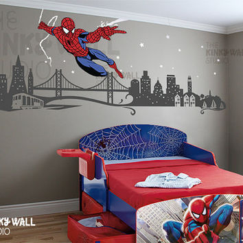 Kids Wall Decals Wall Sticker - Spiderman Wall decal Super Hero  - Avengers 141