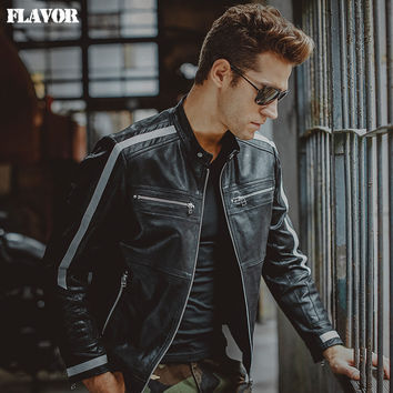 Men's motorcycle pig skin Genuine Leather jacket real leather jackets biker jacket winter coat Men