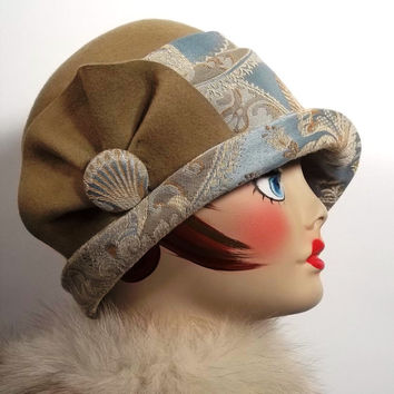 Wool,felt,tapestry,camel,blue,beige,cloche,flapper,1920s,Art Deco,fall,winter,designer,vintage style,hat,size S,M,L.Free shipping in the US.