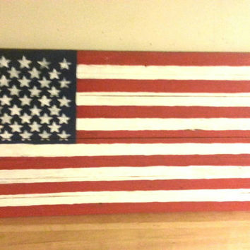 Barn wood American Flag sign, Red White and Blue, stars and stripes, 4th of July, USA decor, primitive Americana, recycled pallet wood