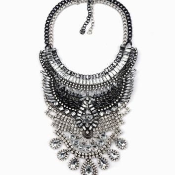 Black Silver Metal and Crystal Necklace
