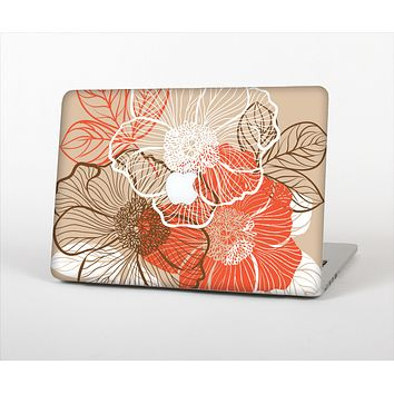 The Brown and Orange Transparent Flowers Skin Set for the Apple MacBook Pro 15""