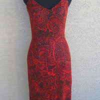Red and black silk dress -  sexy prom evening dress - spagetti straps - Sean Collection - long - asymetical hem - beaded - Xsmall - 80s