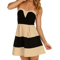 Sale-black And Taupe Up To Date Striped Dress