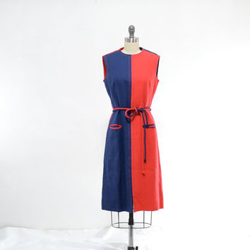 Vintage 60s Mod Dress - 1960s Red Blue Color Block Shift - M L