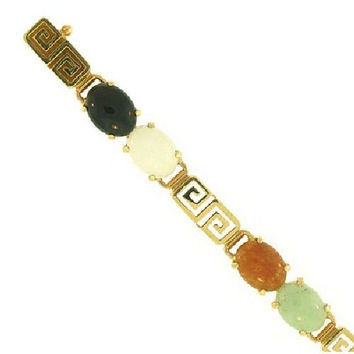 14kt Yellow Gold Natural Multi Colored Oval Jade Bracelet