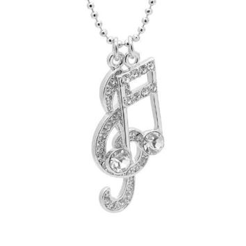 Silver Plated Various Crystal Music Notes Clef and Ottava Charm with Chain