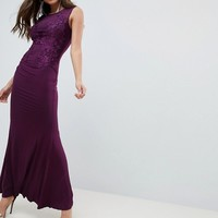 AX Paris Slinky Maxi Dress With Lace Detail at asos.com