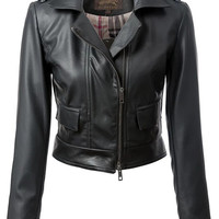 Black Faux Leather Cropped Moto Jacket